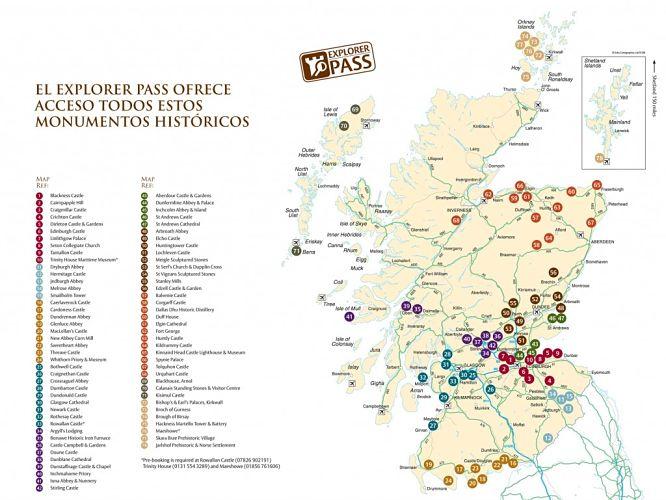 mapa-escocia-explorer-pass-lista-monumentos