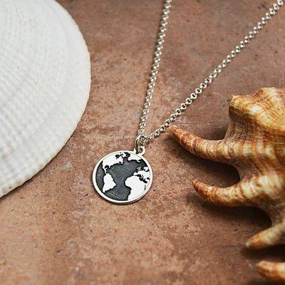 regalos viajeros etsy. collar plata